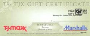 TJ Maxx and Marshalls Gift Certificate