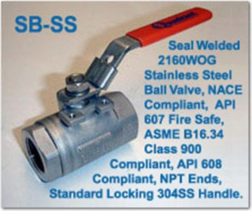 Series SB-SS - Seal Welded High Pressure Ball Valves