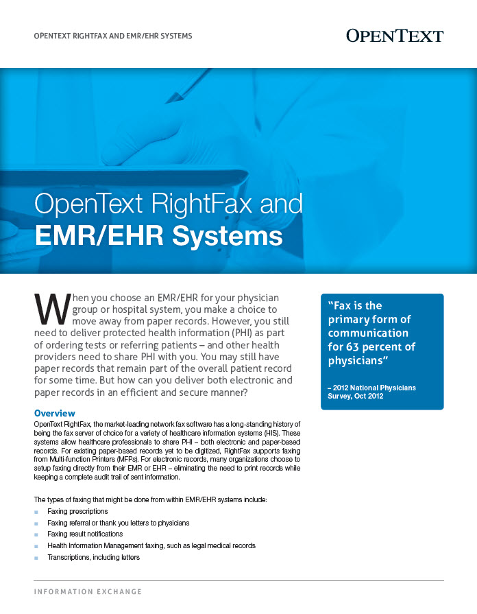OpenText RightFax And EMREHR Systems