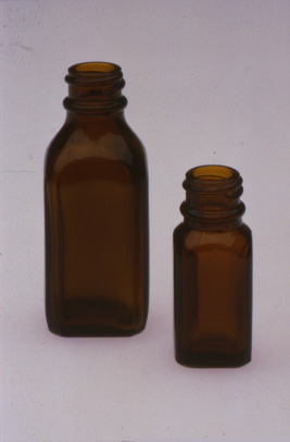 "Amber Narrow Mouth Square (""Iodine"") Bottles"