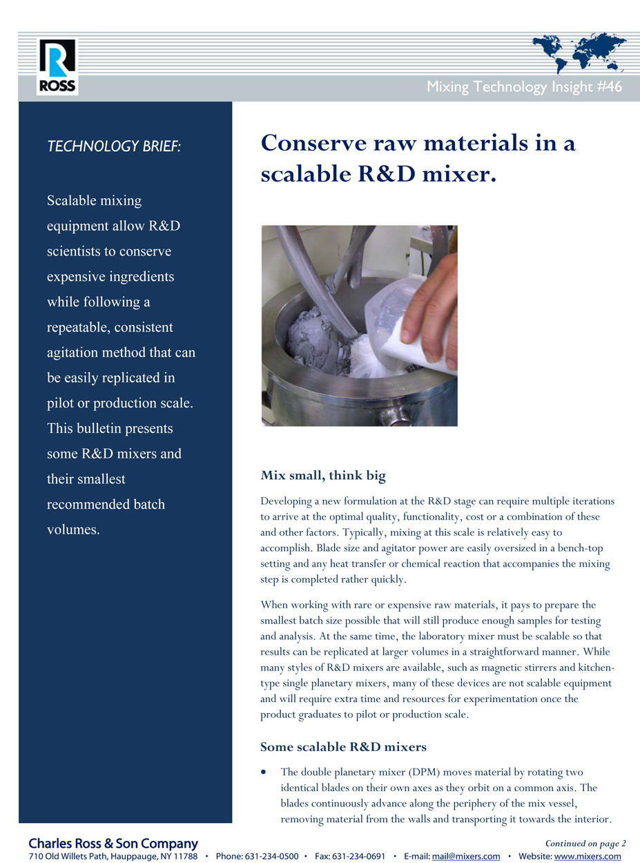 Tech Brief: Conserve Raw Materials In A Scalable R&D Mixer