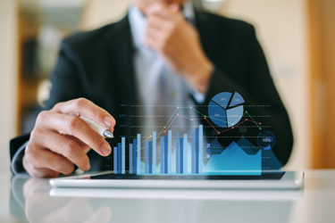 Businessman investor analyzing company financial