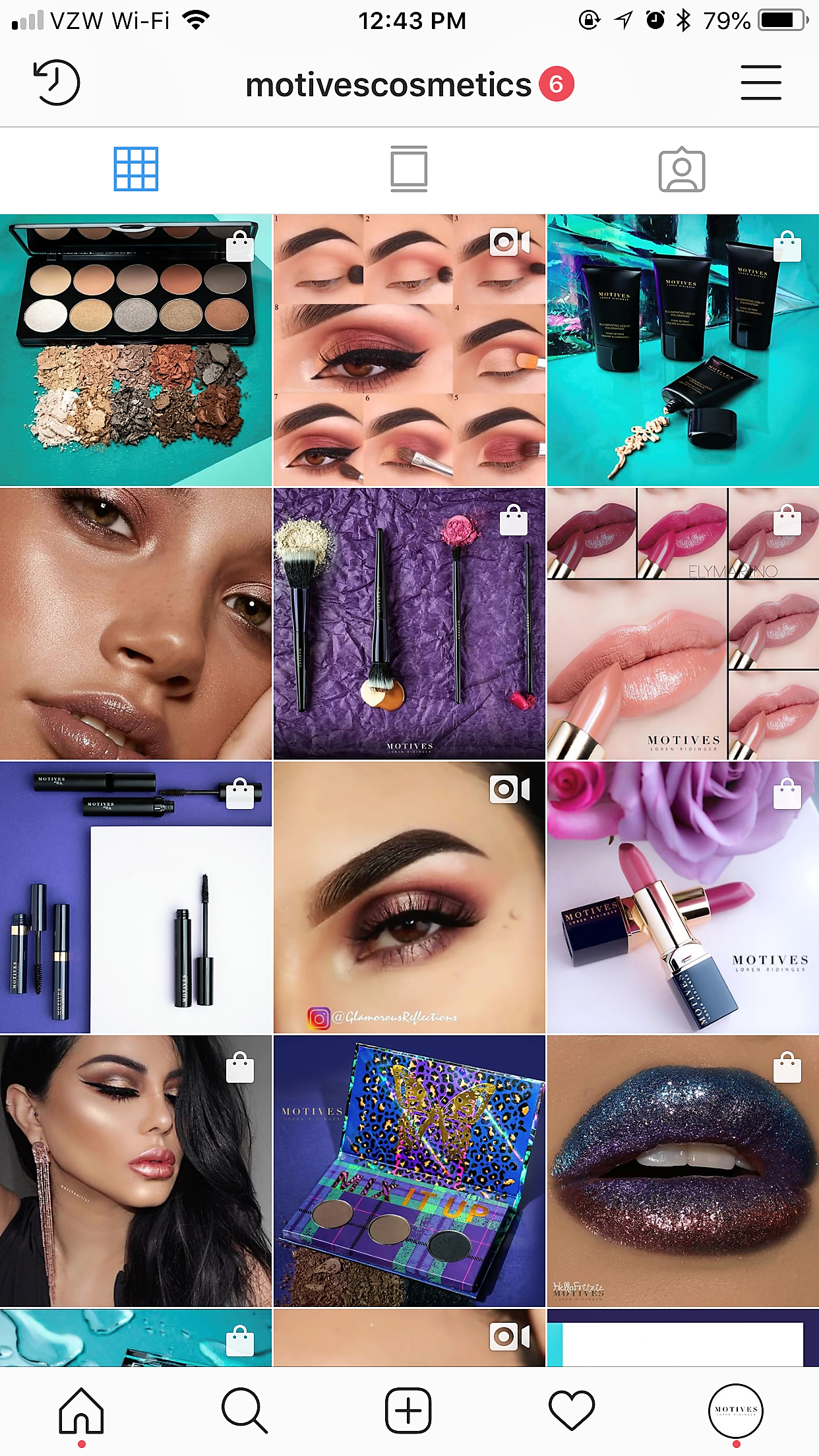 Motives cosmetics Instagram (shoppable icons)