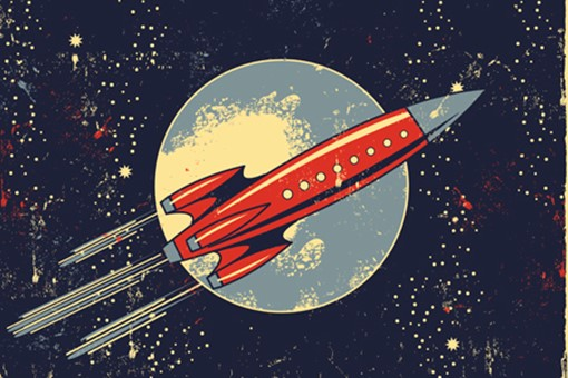old drawing of rocket flying through space with moon behind it
