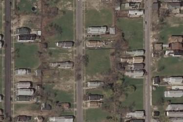 Bird's-eye view of an urban residential neighborhood