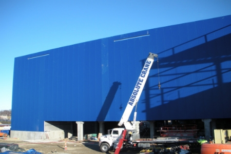 iconic blue exterior begins to transform future kansas city ikea store opening fall 2014 in. Black Bedroom Furniture Sets. Home Design Ideas