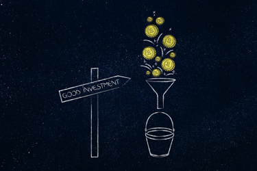 Good Investment road sign and coins dropping into bucket through a funnel