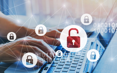 hacker security lock at laptop