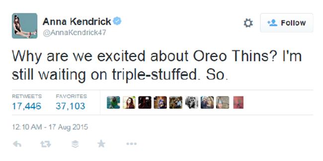Anna Kendrick Oreo Thins