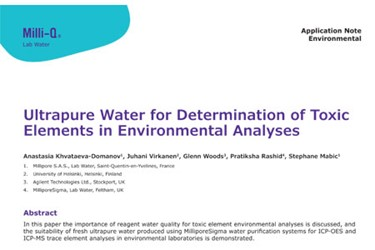 Ultrapure Water For Determination of Toxic Elements In Environmental Analyses