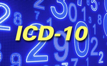 ICD-10 Image On Blue Background Computer