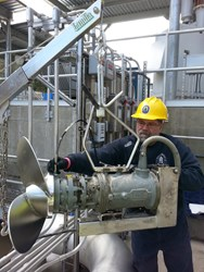 Riccardo DeCarli%2c Mechanic at Staffrod WPCF%2c carrying out routine maintenance on a Landia mixer.