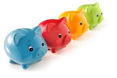 Four Piggy Banks Money