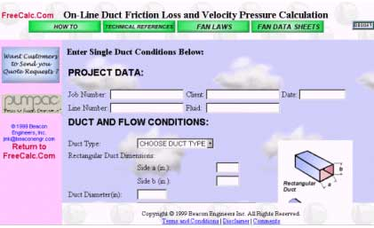 Online HVAC Duct Calculations